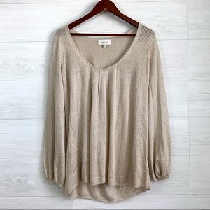 Angel of the North Metallic Knit Scoop Neck Blouse